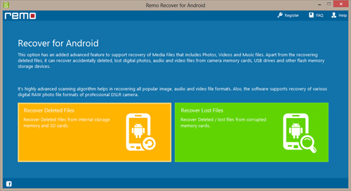 Recover Deleted Files from Android Phone SD Card - Main Screen